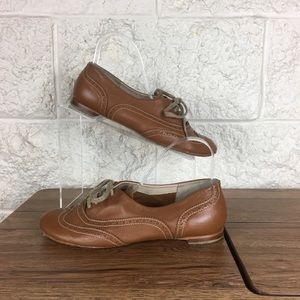 AGL Brown Leather Oxfords Size 8